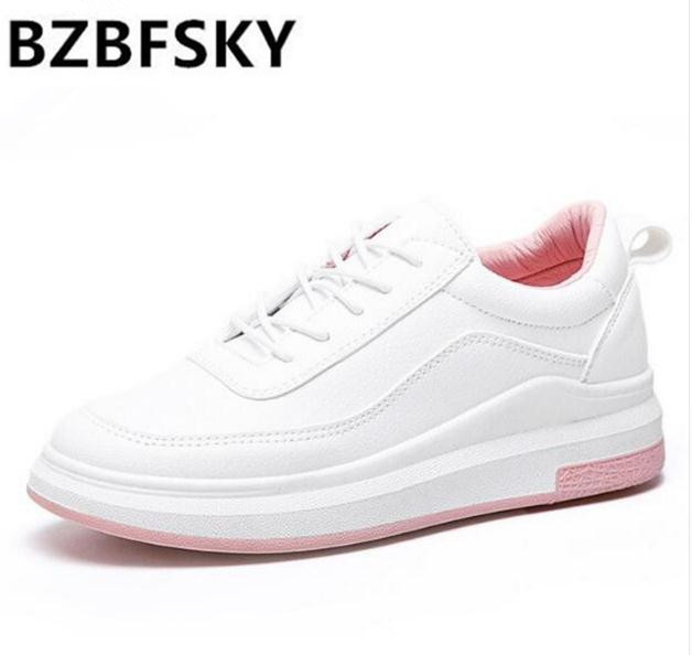 Hot Sale New Women's Genuine Leather Platform Shoes White Breathable Lady casual Shoes lace up girls loafers flats  mother shoes memunia new arrive hot sale genuine