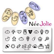 Nee Jolie 1 Hoja de Diseño Lindo Del Bebé Rectángulo Sello Del Arte Del Clavo Que Estampa la Plantilla Placa de la Imagen