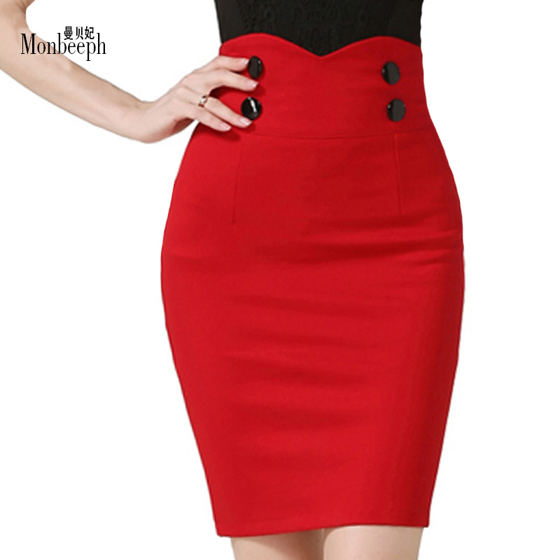new High Elastic Women Skirts Sexy Slim Solid Color Black Red Double Button high waist Pencil Skirts for women plus Size 5XL