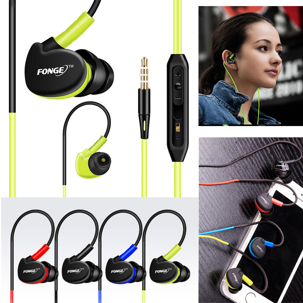 Fonge Waterproof Earphones In Ear Earbuds HIFI Sport Headphones Bass Headset with Mic for xiaomi Galaxy s6 smart phones 3 5mm in ear bass headset v moda headphones hifi earbuds mobile earphones for apple samsung htc sony