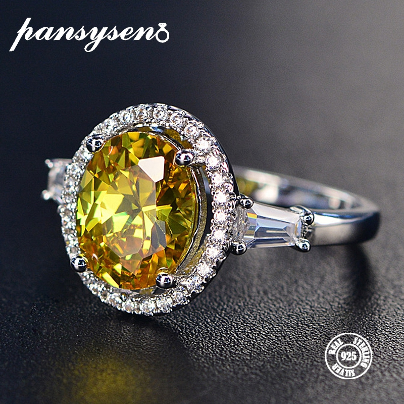 PANSYSEN 100% 925 Sterling Silver Wedding Engagement Jewelry Citrine Rings For Women Natural 8x10MM Oval Gemstone Ring Wholesale