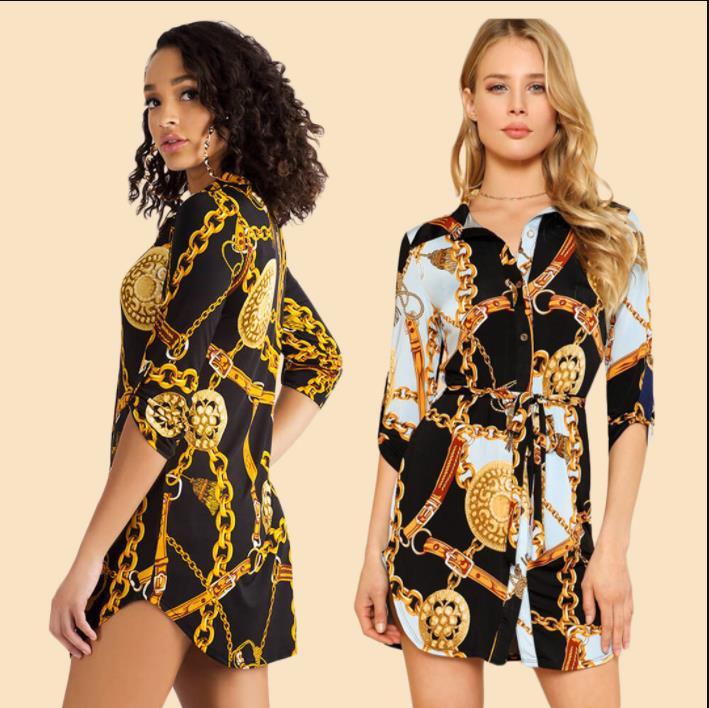 Black White Chain Print Tunic Shirt Blouse Women's 2019 New Spring Autumn Office Lady Women Blouses Tops Blusas Femme S-5XL 6XL