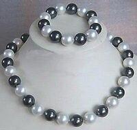 Großhandel preis 16new ^ ^ ^ Echte 10mm Schwarz Weiß Südsee Shell perlen Halskette + Armband Ein Jewel Set
