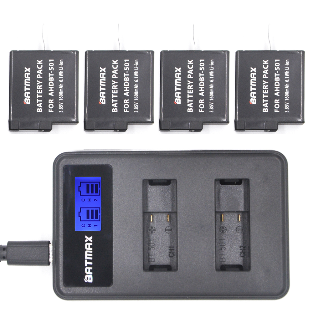 Gopro Hero 5 Battery Pack 4pcs 1600mAh AHDBT-501 (Black) and LCD Dual Charger Port Home Charger for Gopro Hero5 4K Camera