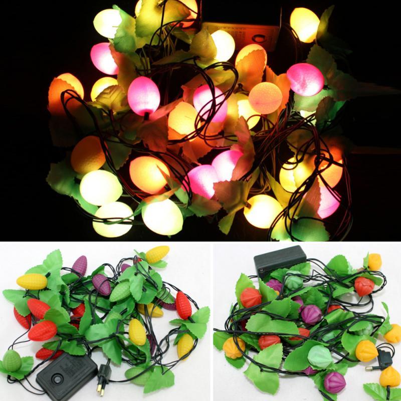 lmpara de navidad ao nuevo m enchufe de la ue de frutas cadena de hadas de luz de plstico led navidad del alambre de co
