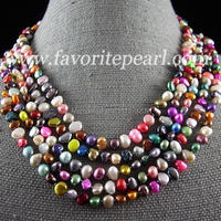 Pearl Necklace 100 Inches 6 7mm Rainbow Color Natural Freshwater Pearl Long Necklace Perfect Handmade Jewelry
