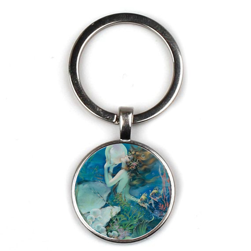 Fashion Cute Mermaid Antique Children 39 s Necklace Glass Pendant Choker Female Retro Necklace Handmade Jewelry Party Gift Souvenir in Key Chains from Jewelry amp Accessories