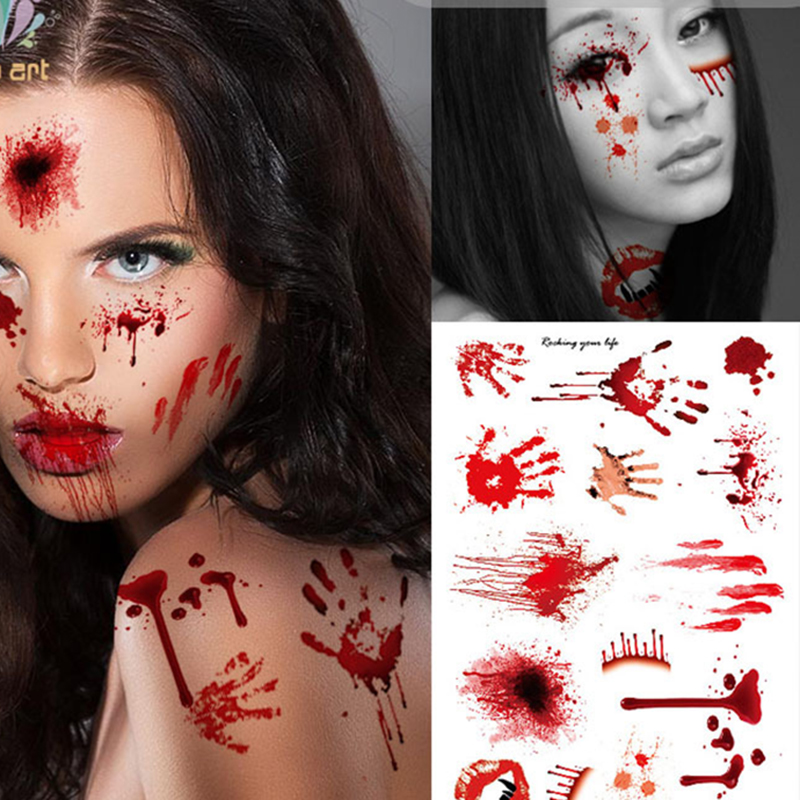 3pcs Halloween Horror Realistic Blood Injury Scar Wound Tatto