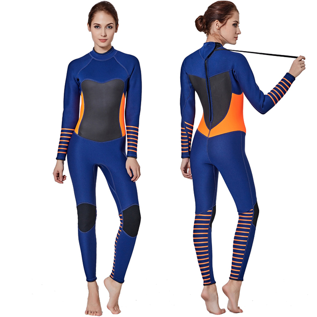 559f2296457 Neoprene 3MM Women Wetsuit Snorkeling Surfing Scuba Diving Swimming Wet  Suit Fullsuit Jumpsuit Blue Orange