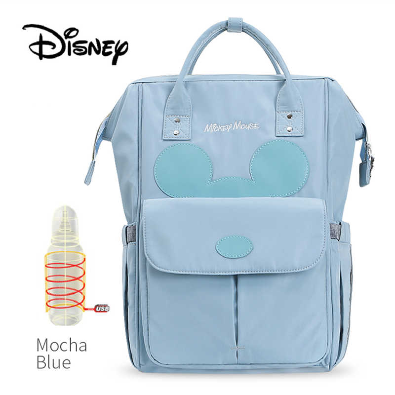 Disney Baby Diaper Bags USB Warm Cute Mummy Maternity Nappy Diaper Stroller Bag Insulation bebek bakim cantalari Travel Backpack