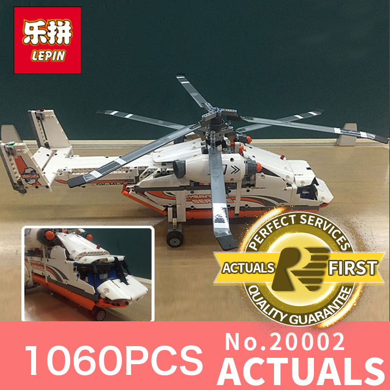 1060Pcs Lepin 20002 echnic series Double rotor transport helicopter Model Building blocks Bricks Compatible 42052 Boy toys lepin 02004 356pcs city series volcanic expedition transport helicopter model building blocks bricks toys for children gift