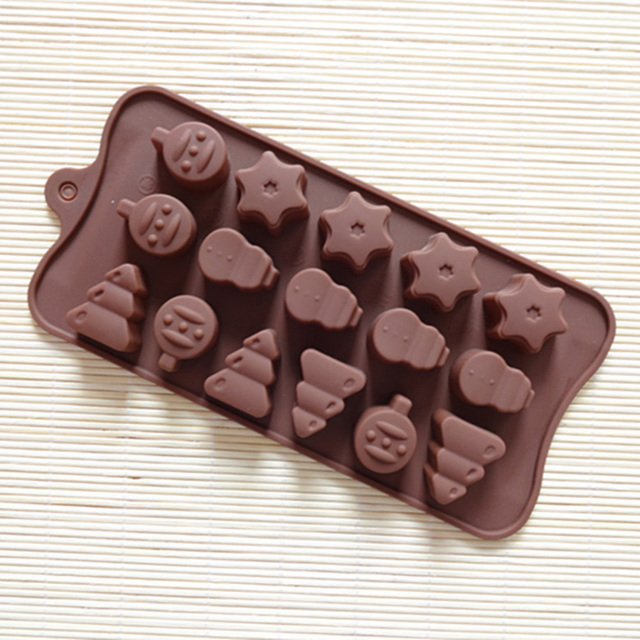 Gift Silicone Chocolate Cake Mold Bar Christmas Tree Snowman Socks Diy Shell Shaped Candy Decorating Baking