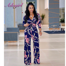 2018 Spaghetti Strap Boho High Waist Tropical chain printing Print Shirred Wide Leg Palazzo Women Jumpsuit fashionable ethnic style print spaghetti strap jumpsuit for women