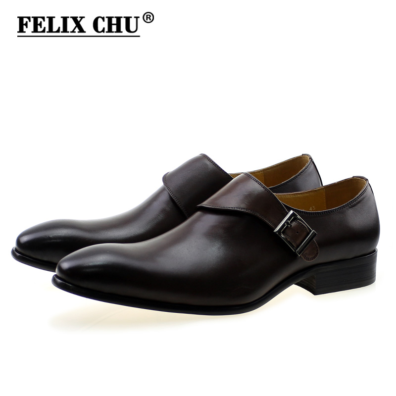 FELIX CHU Brand Designer Men Dress Shoes Genuine Leather Buckle Monk Strap Men's Dark Brown Office Party Formal Shoes #YC027-318