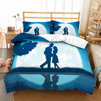 3D print Bedding set Valentine's Day Lovers gazing under the moonlight lovers' gift Duvet cover set Home Textiles