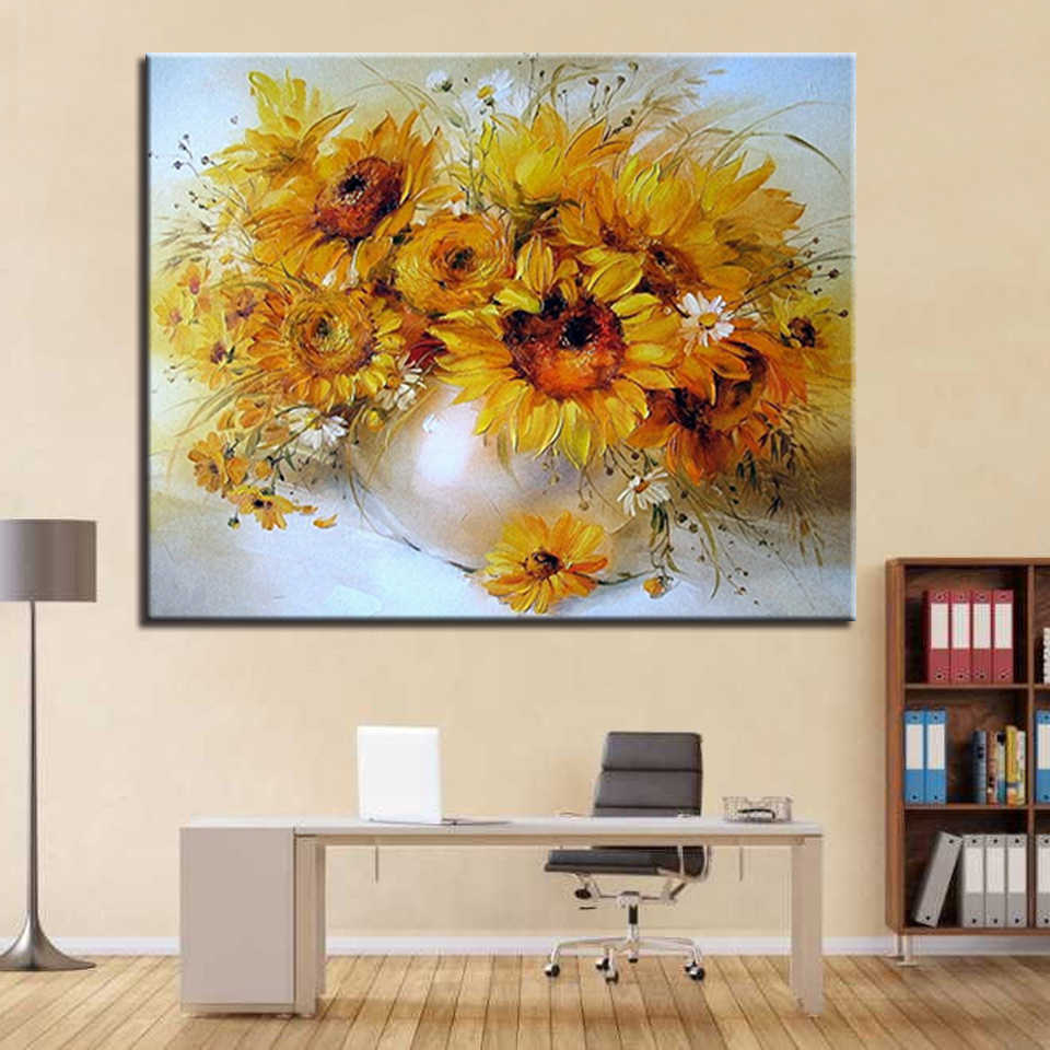 DIY Painting By Numbers Paint Framework Kits Coloring Sunflower Home Decorative Modular Wall Art Picture Gift Modern Cuadros