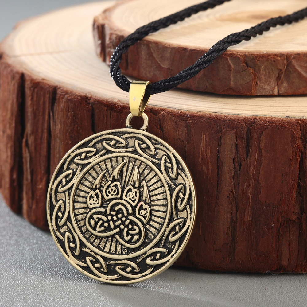 CHENGXUN Viking Kot Celtic Infinity Bear Pendant Men Necklace Bear Claw Paw  Amulet Protection