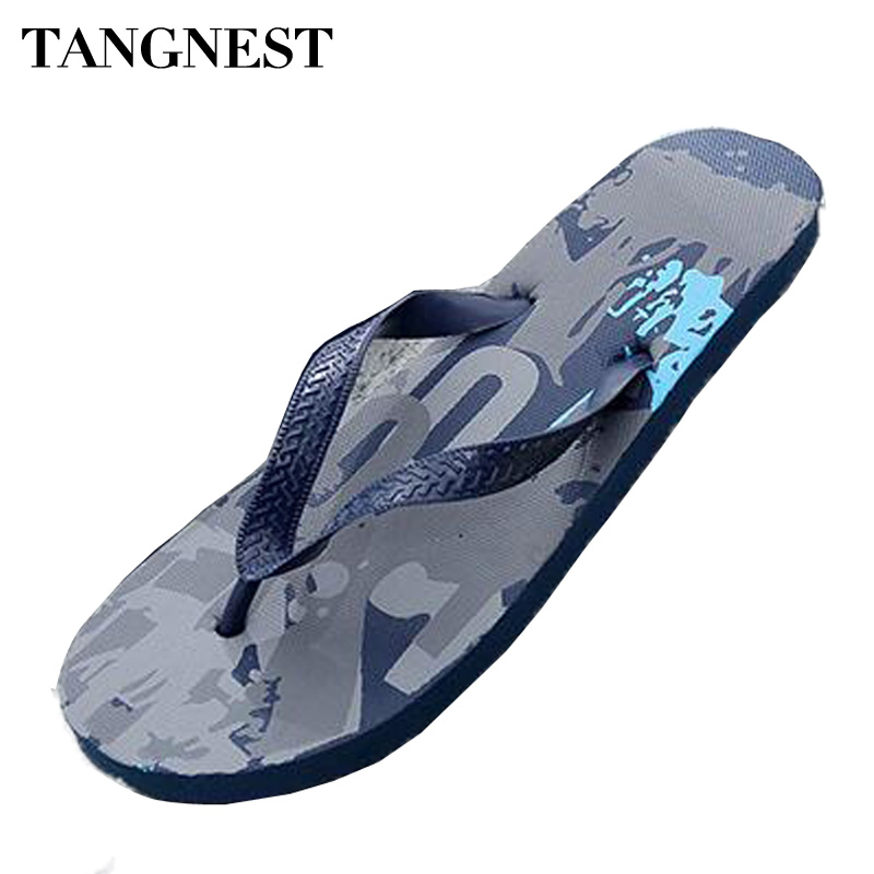 Tangnest New Summer Men Slippers Fashion Printed Outside Flip Flops Male PVC Sandals Man Casual Beach Slides Shoe Size 45 XMT228 hot sale natural man hemp flip flops summer breathable fashion beach sandal shoes men s casual canvas slides shoes free shipping