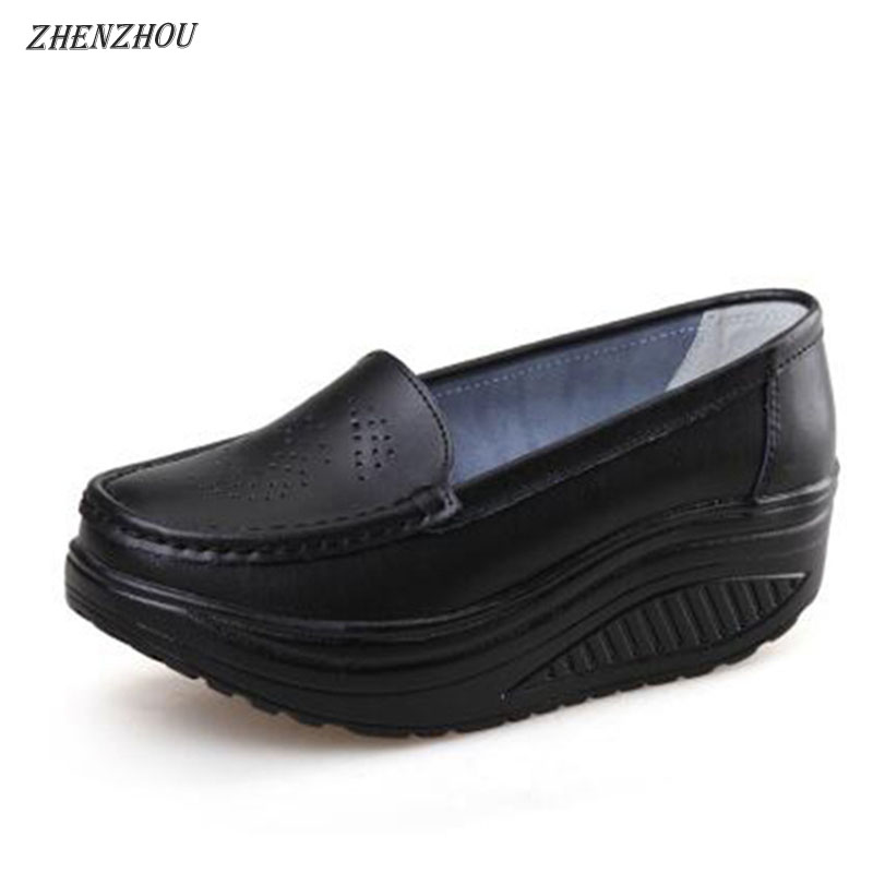 ZHENZHOU Spring summer shake out Single women shoes The nurse's shoes white and platform woman's shoeses Breathable hollow
