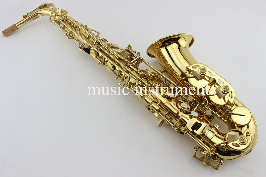 2017 YAS-82z New Custom Alto Saxophone Gold Lacquer Brass Instruments Professional Sax Mouthpiece With Case and Accessories new 2017 senior french brand conn selmer black lacquer alto saxophone e as 710 matt encarved alto sax with mouthpiece