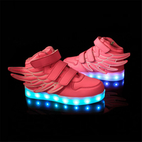 2016 New Arrival Kids Sports Sneakers Charging Luminous Lighted Colorful LED Lights Children Sports Shoes