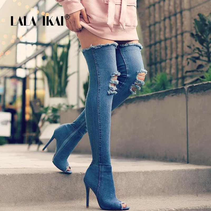 LALA IKAI Denim Women Tall Boots Fashion Peep Toe High Heels Sexy Autumn Over The Knee boots Woman Shoes Plus Size 014N1288 -3 2018 spring sexy women ripped denim over the knee boots thin high heels night club shoes peep toe platform footwear large size