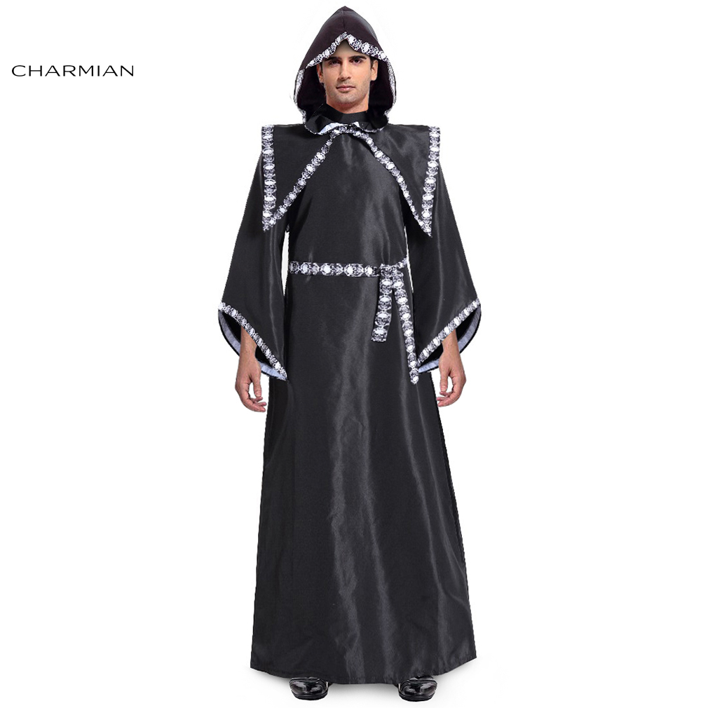 Charmian Men's Black Crypt Keeper Halloween Costume Adult Deluxe Men Robe Cosplay Carnival Party Fancy Costume Clothing