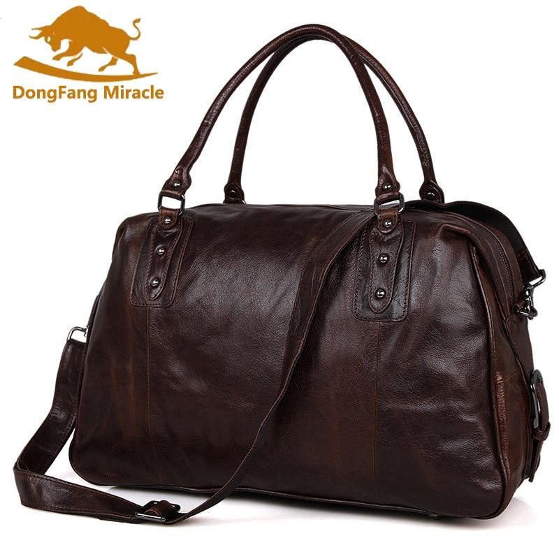 DongFang чудо натуральная Винтаж натуральной яловой кожи сумка унисекс сумки Tote дорожные сумки большой ёмкость