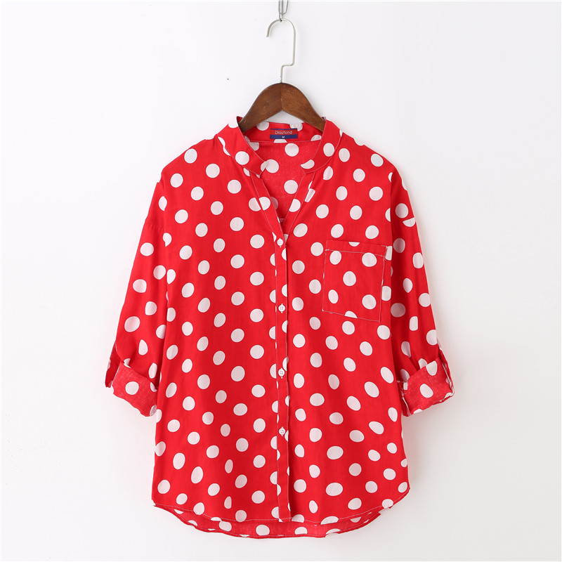 Dioufond Cotton V-Neck Polka Dot Women Shirts Blouses Casual Long Sleeve Vintage Ladies Tops Loose Blusa Feminina Plus Size