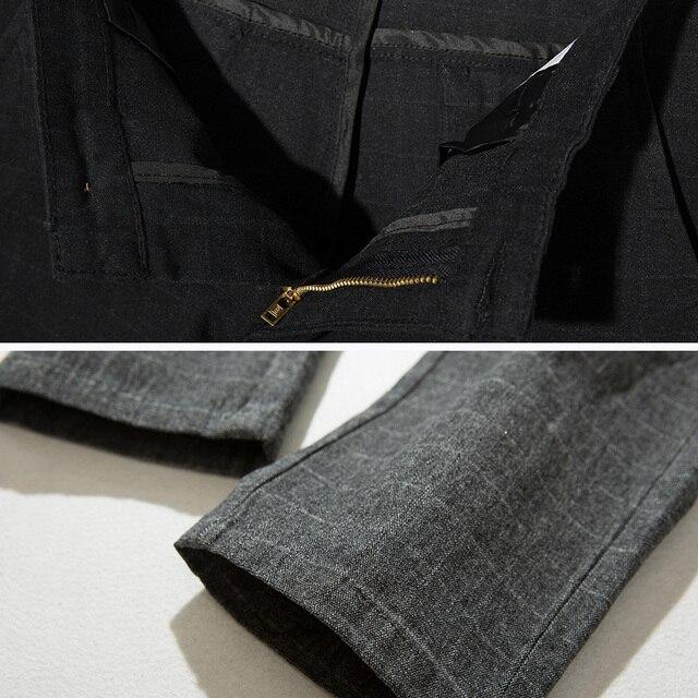 Pants Men Casual Elastic Trousers Male Cotton plaid straight Large big size 28-38 3
