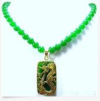 Hot koop Gratis Verzending>> Groene kraal Dragon Hanger Ketting