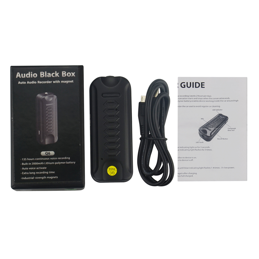 auto audio recorder Q6 with2000mAh rechargeable high temperature battery car equipment Voice Recorder Q6 built in