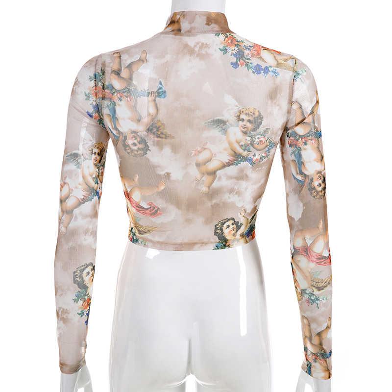 7bb42eee2 ... Sweetown Summer 2019 Kawaii Mesh Crop Top Tshirt Greek Mythology Angel  Print See Through Top Women