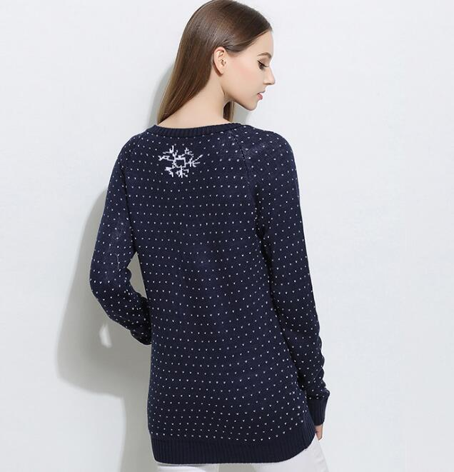 European Women Winter Christmas Sweater Cartoon Snowman Snowflake