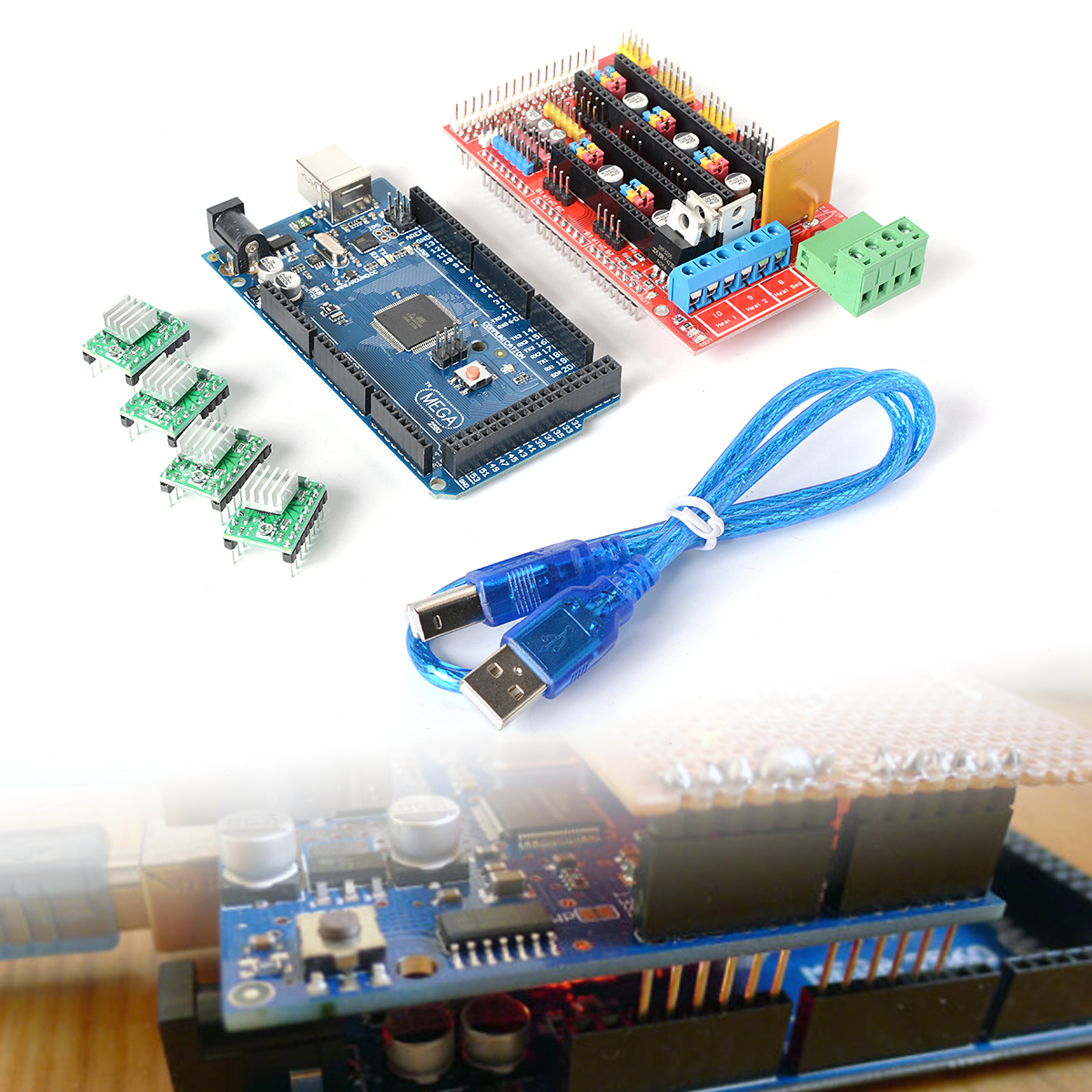 3D Printer Kit Mega2560 R3 Control Board A4988 Driver RAMPS 1.4 For RepRap TE163