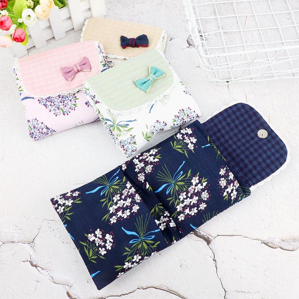 Lovely Women Girl Flower Pattern Sanitary Pad Organizer Purse Napkin Towel Storage Bags Cosmetic Pouch Case Sanitary Napkin Bag