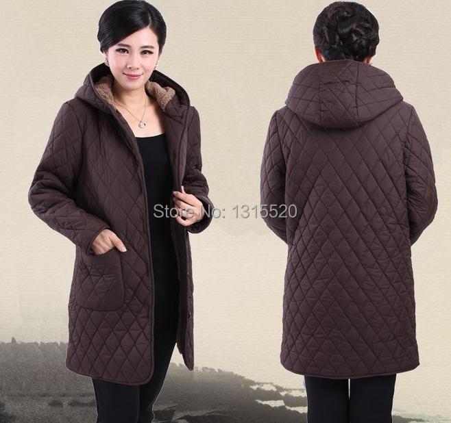 Cotton 2014 winter new middle-aged women plus fertilizer to increase cotton velvet hooded coat jacket mother 91498