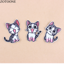 ZOTOONE 3 Style Cute Cat Patch for Embroidery Iron on Patches Applications Clothing Kids DIY T-shirt Jeans Stickers D1