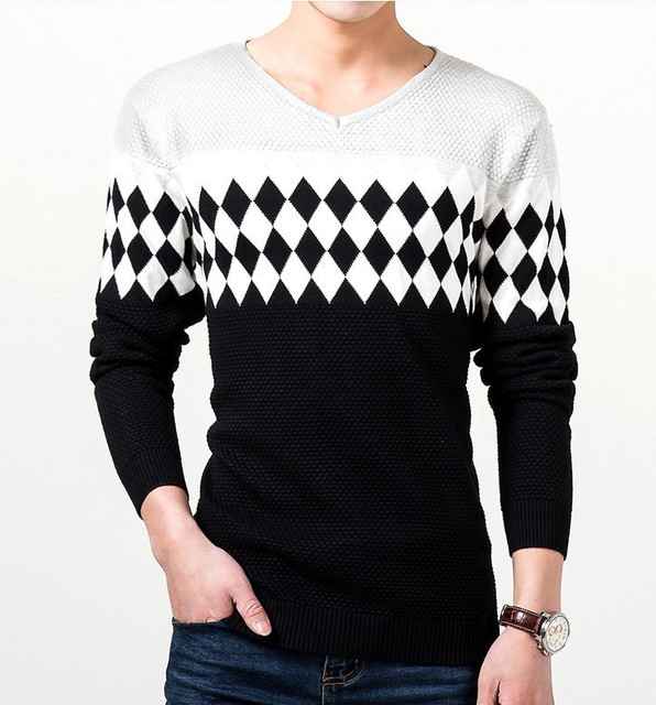 ZOEQO New men's sweater Slim male V-neck knit sweater men casual jumper fashion pullover men sweter hombre