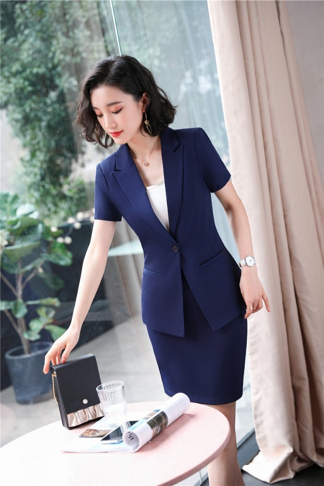 Formal 2 Piece Set 2019 Summer Formal Women Business Suits With Tops And Skirt Ladies Office Work Wear Blazers Set
