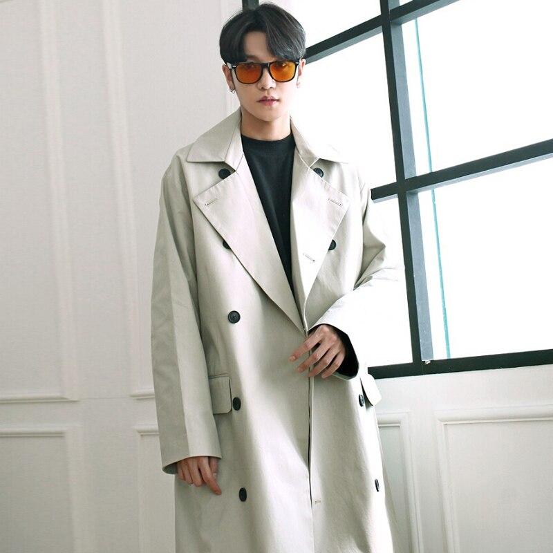 2018 весеннее пальто, Тренч, корейский Свободный удлиненный двубортный бежевый плащ, Простой повседневный большой размер, полупальто