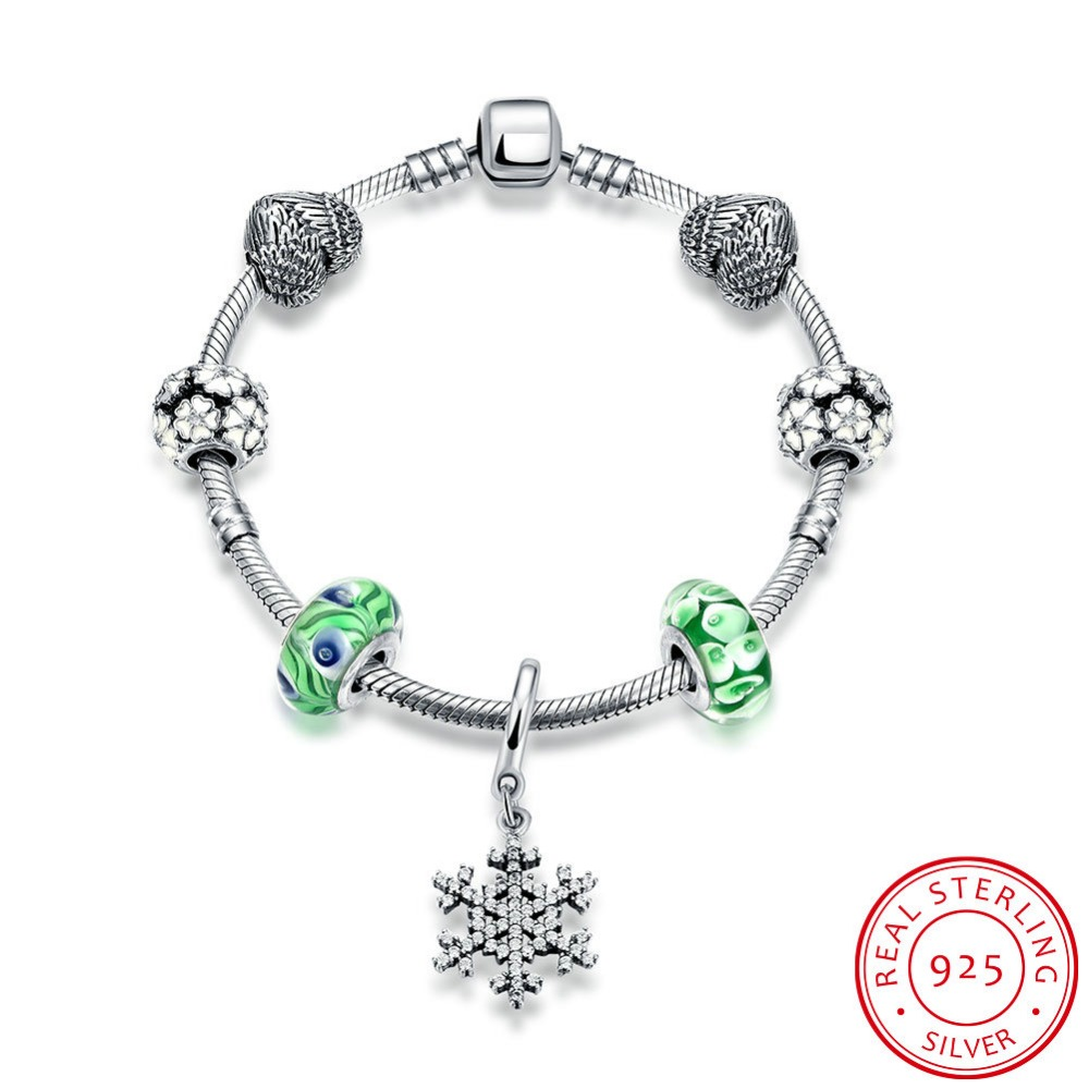 Hot Sale 100 925 Sterling Silver Snowflake Bangles Bracelet With Charm Green Beads Luxury Jewelry Original
