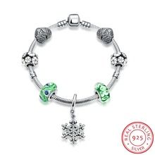 Hot Sale 100% 925 Sterling Silver Snowflake Bangles&Bracelet With Charm Green Beads Luxury Jewelry Original Christmas Gift H007