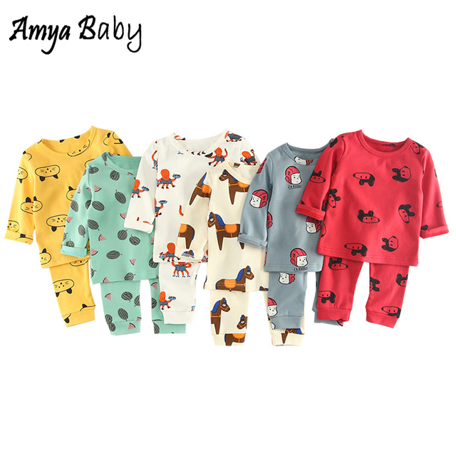 12b6c420c4a62 AmyaBaby 2018 Autumn Baby Clothing Set Cartoon Long Sleeve Tops + Pants  2pcs Baby Girl Boy Outfits Unisex Girl Boy Clothes Set