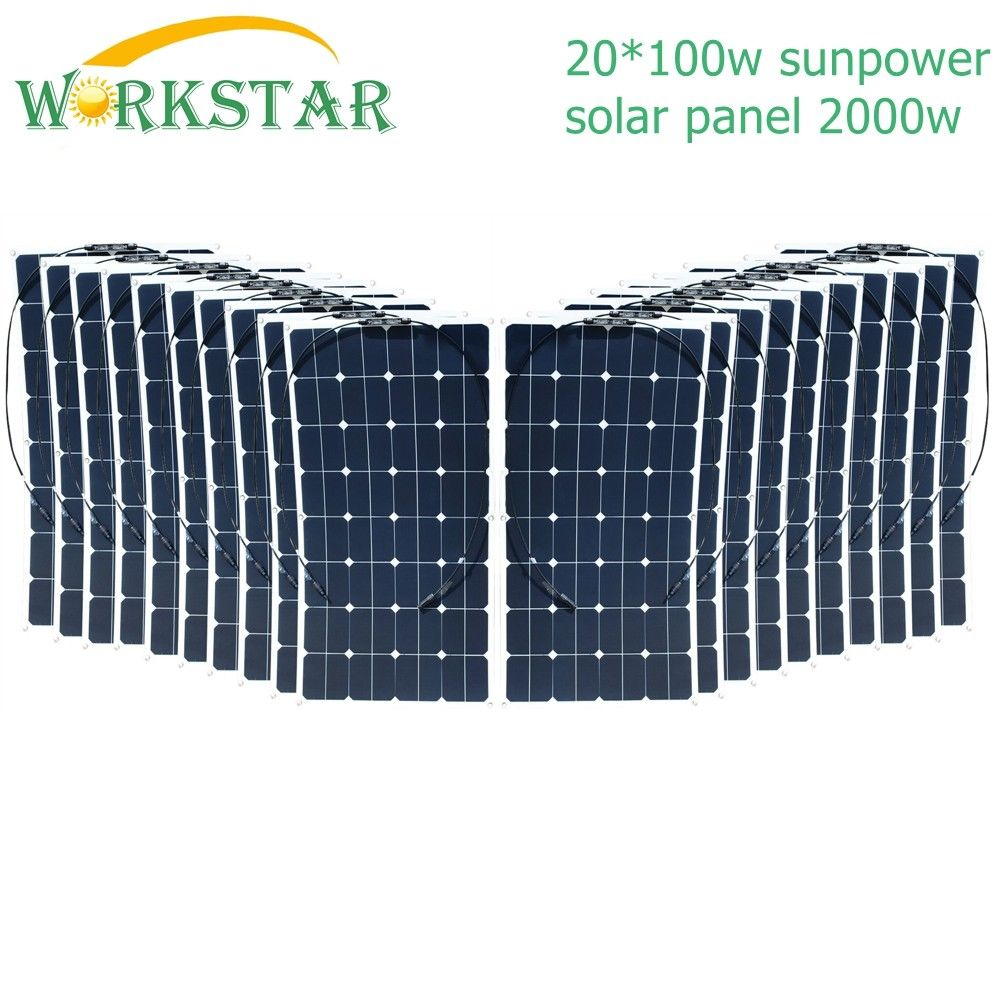 купить 20*100W Sunpower Flexible Solar Panel 18V 100w Solar Module Charger for RV/Boat 2000w Solar Power System по цене 107829.62 рублей