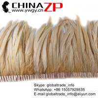 CHINAZP Feathers Bulk Wholesale 30~35cm(12~14inch) Beautiful Ivory Color Bleached Rooster Tail Feathers Trim Clothes Design