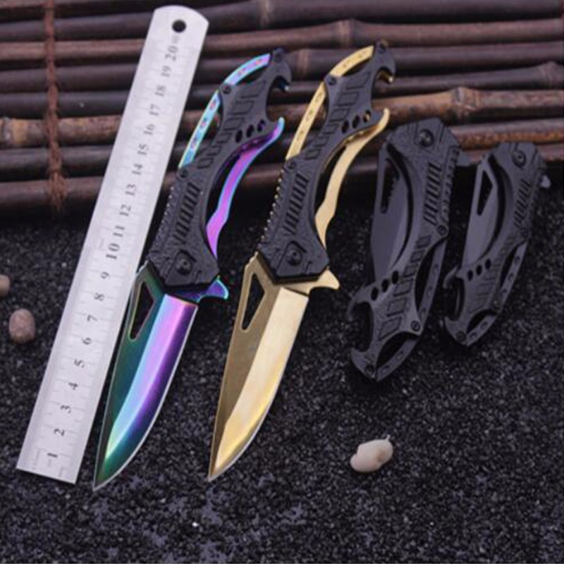 Mini Outdoor Folding Knife Black Titanium Tactical Pocket Knife Rescue Survival Knife Aluminum Handle Camping Hunting Tools цена 2017