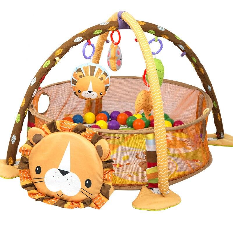 Lion bébé jouet bébé tapis de jeu 0-1 an jeu Tapete Infantil éducatif ramper tapis jouer Gym bande dessinée couverture balle Pit - 4
