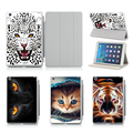 Cute Animal Cheetah Tiger Cat Pattern Protective Cases For Apple iPad Air 2 Case Smart Cover With Stand Flip PU Leather
