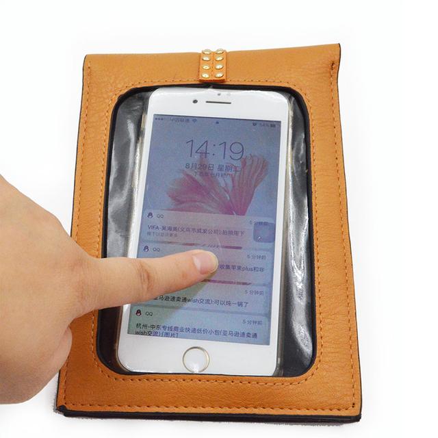 BONAMIE 50pcs Wholesale Girl Card Wallet Touch Screen Mobile Phone Case Bag Creative Design Hasp Women Messenger Crossbody Bag